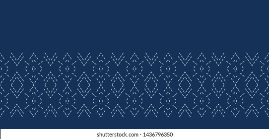 Indigo blue diamond sashiko style japanese embroidery border pattern. Hand drawn running stitch. Textile ribbon trim. Seamless vector