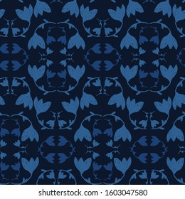 Indigo blue dyed floral vector seamless pattern. Hand drawn Japanese tulip flower style kimono fabric background. Trendy monochrome masculine decorative shirting all over print. Navy blu fashion.