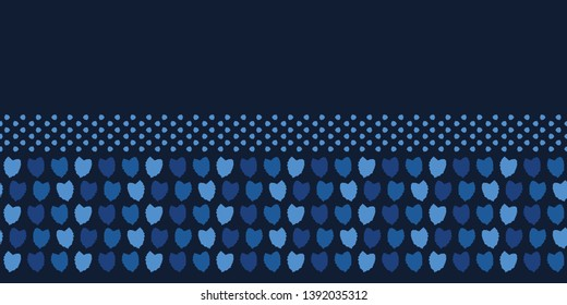 Indigo blue falling petal heart confetti shapes. Vector pattern seamless border background. Hand drawn graphic party edging banner. Trendy celebration decor, asian, japanese navy denim ribbon trim