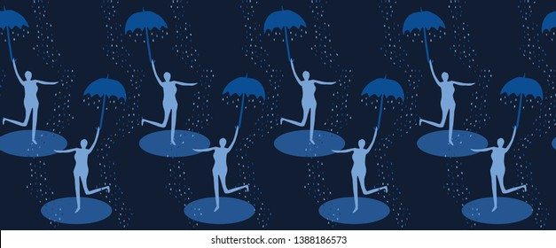 Indigo blue female figure holding open umbrella. Seamless vector border pattern. Singing in the rain. Woman leaps water puddle. Happiness, joy, wellness.