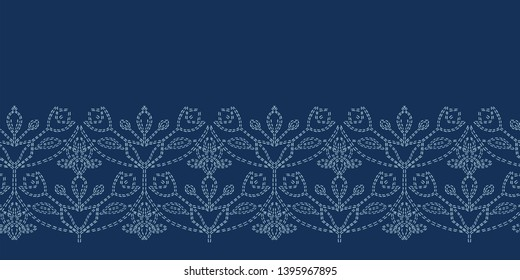 Indigo blue floral motif sashiko style. japanese needlework border. Seamless vector pattern. Hand drawn running stitch edge trim. Japan textile decor, Asian denim fusion. Ethnic kimono quilt template.