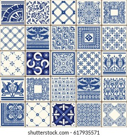 Indigo Blue Flower Azulejos Lisbon Set Paint Tile Floor Oriental Spain Collection Seamless Pattern Portugal Geometric Ceramic Design Tile Vintage Illustration background Vector arabesque Texture