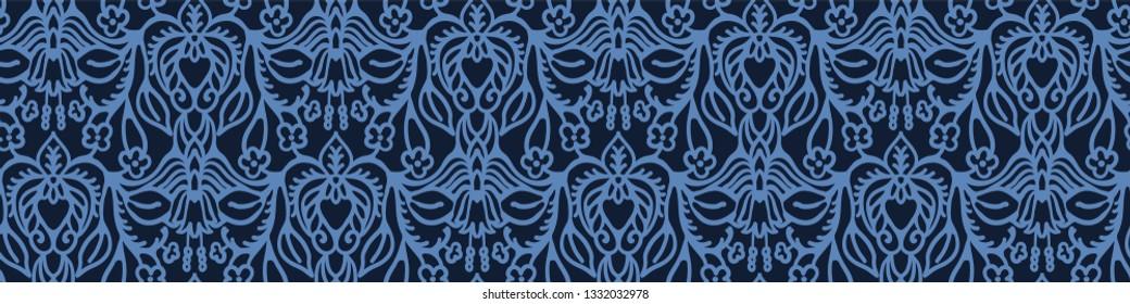 Indigo blue hand drawn persian arabesque border damask illustration. Seamless decorative vector pattern. Japanese style ribbon trim. Intricate elegant filigree. Edging indian boho home decor trimming.