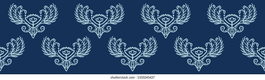 Indigo blue hand drawn persian arabesque border ornament illustration. Japanese style denim dye textile edging . Intricate filigree motif. Elegant ribbon trim, indian ethnic boho home decor banner.