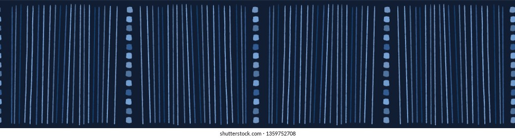 Indigo blue hand drawn vertical striped lines seamless border pattern. Sketchy dotty vector illustration. Modern graphic design, denim ribbon trim, asian fusion style. Playful masculine background.