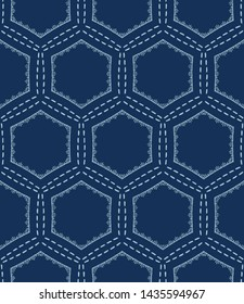 Indigo blue hexagon sashiko style japanese embroidery pattern. Hand drawn running stitch. Textile all over print. Classic simple Japan decor. Asian kimono quilting template. Seamless vector backdrop