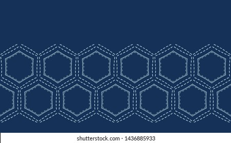 Indigo blue hexagon sashiko style japanese embroidery border pattern. Hand running stitch line texture edge. Textile ribbon trim. Classic Japan decor. Asian kimono quilting template. Seamless vector