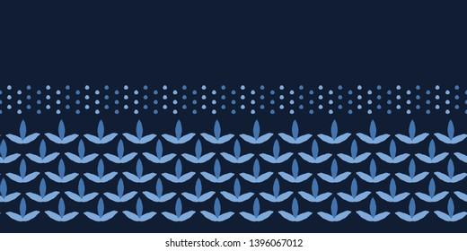 Indigo blue leaf stripes shapes. Vector border pattern seamless striped background. Hand drawn floral geometric leaves illustration. Trendy retro home decor, mens shirting fashion print, ribbon trim