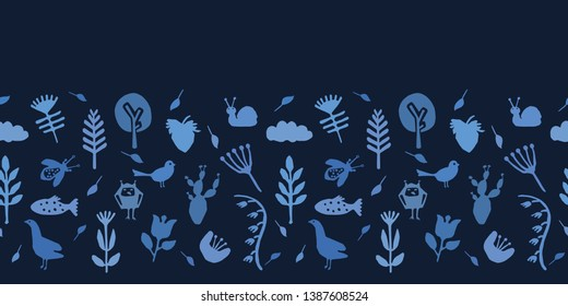 Indigo blue nature cut out shapes. Vector pattern seamless border background. Hand paper cutting animals, plants matisse style. Collage illustration. Home decor, fashion ribbon. Bird fish, duck, snail