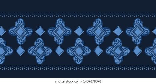 Indigo blue ogee motif mosaic stripe. Vector border pattern. Monochrome seamless background. Hand drawn jewel textured style. Trendy home decor, elegant fashion banner. Bandana edging navy ribbon trim