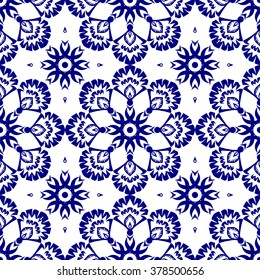 Indigo blue on white background with abstract seamless floral pattern in vector. Abstract wallpaper with oriental ornament elements of nature. Delicate lacy texture style design.