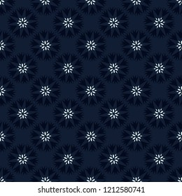 Indigo Blue Polka Dot Floral Seamless Vector Pattern. Drawn 1950's Style Flower llustration for Trendy Fashion Prints, Christmas Packaging, Dark Denim Blue Dotty Paper, Wrap, Wedding Stationery.