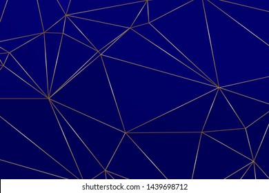 Indigo blue premium background with luxury polygonal pattern and gold triangle lines. Low poly gradient shapes luxury gold lines vector. Rich background, premium triangle polygons royal blue design.