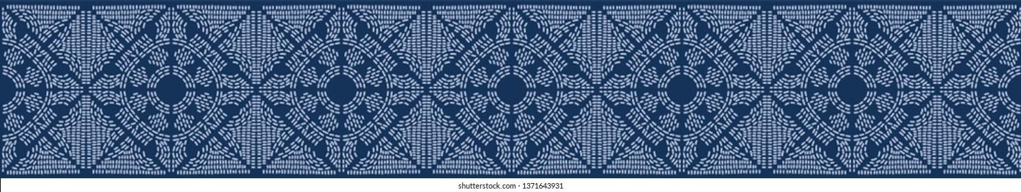 Indigo blue sashiko hand stitch seamless border pattern. Modern japanese style vector illustration. Denim quilt template design. Hand drawn banner ribbon trim. Masculine fashion home decor backdrop.