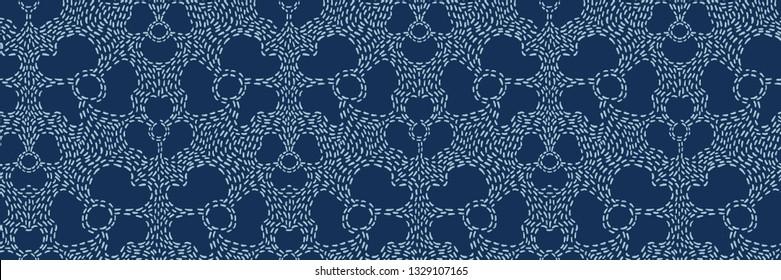 Indigo blue Sashiko style japanese needlework seamless vector border. Hand stitch floral motif line texture ribbon. Textile edge trim, classic Japan decor band. Asian simple Kimono quilting template.