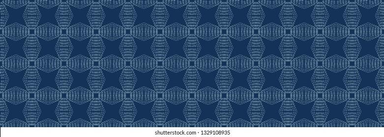 Indigo blue Sashiko style japanese needlework seamless vector border. Hand stitch abstract motif line texture ribbon. Textile edge trim, classic Japan decor band. Asian Kimono quilting template tape.