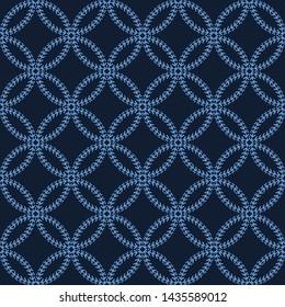 Indigo blue sashiko style japanese embroidery pattern. Hand running stitch line texture textile print. Classic hana zashi motif Japan decor. Asian kimono quilting template. Seamless vector backdrop