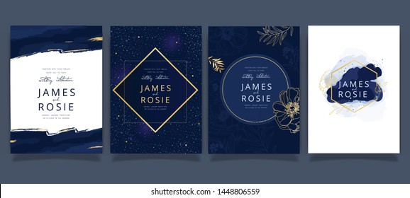 Indigo Blue Set Card Wedding Invitation, floral invite thank you, rsvp modern card Design in Golden flower with leaf greenery  branches decorative Vector elegant rustic template