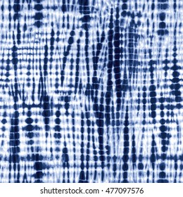 Indigo blue tie-dye textile pattern. Editable vector seamless pattern repeat.