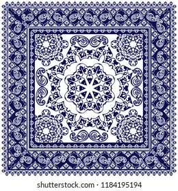 Indigo dye printed traditional paisley pattern. Vector ornament paisley Bandana Print, square pattern design style for print on fabric.