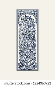 Indigo dye wood block printed floral arrangement in frame. Traditional ethnic motif of North India,navy blue on ecru background. For your design of ornamental patterns or borders.