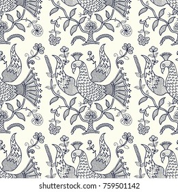 Indigo dye woodblock print seamless floral pattern. Vector Russian folk motif with mythical fire birds and flowers. Navy blue on ecru background. Textile print.
