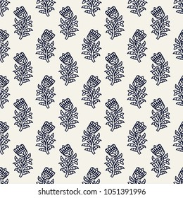 Indigo dye woodblock printed seamless ethnic floral all over pattern. Traditional oriental ornament of India, tulip flowers of Kashmir, navy blue on ecru background. Textile design.