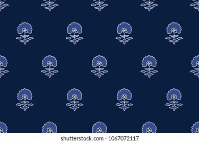 Indigo dye woodblock printed seamless ethnic floral all over pattern. Traditional oriental ornament of India, flowers of Kashmir, with dandelions, ecru and cobalt on navy blue  background. Textile des