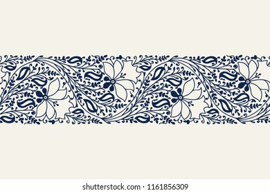 Indigo dye woodblock printed seamless ethnic floral border. Traditional oriental ornament of India, garland of flowers and leaves, navy blue on ecru background. Textile design.