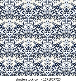 Indigo dye woodblock printed seamless ethnic floral pattern. Traditional oriental ornament of India, damask of flowers and leaves, navy blue on ecru background. Textile design.