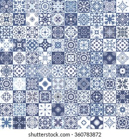 Indigo floral patchwork tile design. Moroccan or Mediterranean square tiles, tribal floral mosaic ornaments. For wallpaper print, pattern, background, surface textures. Indigo blue white teal aqua