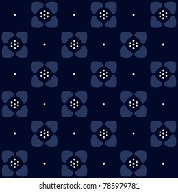 Indigo floral pattern. Small flowers on a navy blue. Seamless vector all over print. Geometric simple design for cards, fabric cloth, paper, home decor, interior textile. Flowery medallion ornament.