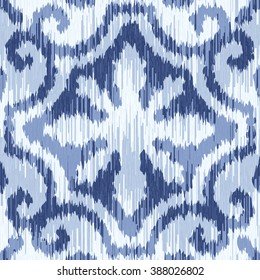 Indigo ikat tribal fabric pattern seamless vector background tile