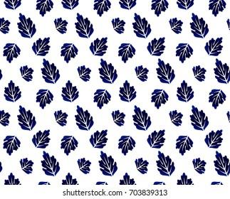 Indigo leaves seamless pattern, blue leaf porcelain background, ceramic design vector illustration