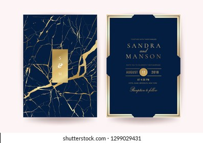 Indigo Marble Wedding invitation. Design with Luxury Marbling Golden and Geometric shape pattern. Can be adapt to covers design, RSVP, brochure, Packaging, Magazine, Poster and Greeting cards.