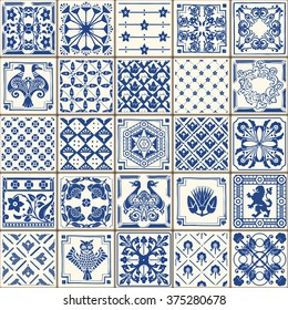 Indigo Portugal Lisbon Set Paint Tile Floor Oriental Spain Ornament Collection Abstract Spanish Pattern Painted Tin Ceramic Tile work Vintage Illustration background Vector Azulejo Set Pattern Brocade