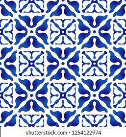 indigo tile pattern, ceramic blue and white abstract flower seamless background design, beautiful porcelain wallpaper decor vector illustration