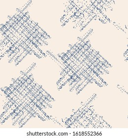 Indigo and White Vector seamless check pattern. Allover pattern. Ink grunge grid. Hand drawn seamless check pattern. Graphic background with ethnic tartan. Seamless check pattern background.