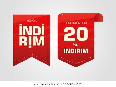 Indirim etiketleri yazilari. Translation from turkish: Sale offer badges. Red promo seals/stickers. Isolated vector illustration.