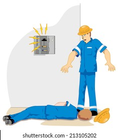 Individual employee being electrocuted and fainting 2