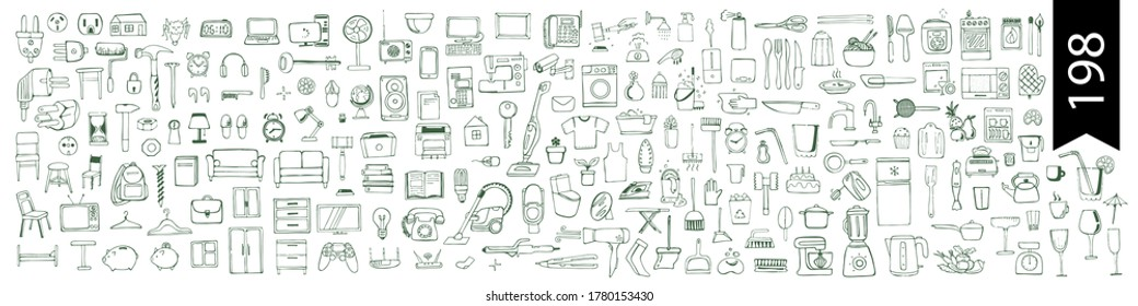 individual household items household appliances everything for the home Vector hand drawn stock illustration White background Electrician repair tools kitchen and bathroom accessories Computer Dishes