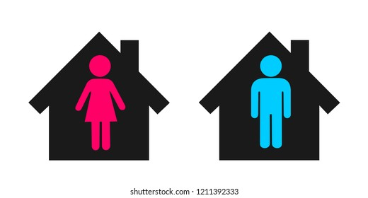 Individual housing of lonely and independent single man and woman / Separated heterosexual couple is living detached in two houses. Vector illustration