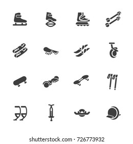 Individual sports devices as glyph icons. Devices for walking, jumping and rolling