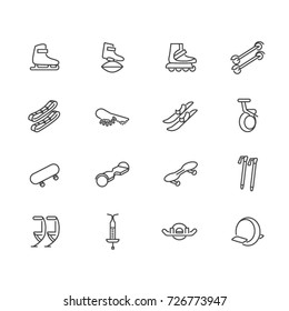 Individual sports devices as line icons. Devices for walking, jumping and rolling