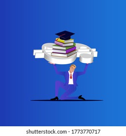 Individual struggling to carry 3d dollar sign, books and degree hat. Student Loan business concept.
