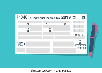 Individual Tax Return Forms with pen. Income  document. Forms Tax 1040. Vector illustration flat design. Isolated on  background. List budget.