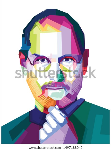 Indonesia, Agus 2019:vector isolated portrait stylized illustration Steven Jobs American entrepreneur business magnate inventor industrial chairman chief executive officer co-founder
