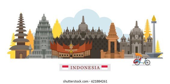 Indonesia Architecture Landmarks Skyline, Cityscape, Travel and Tourist Attraction