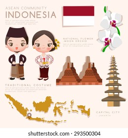 Indonesia : Asean Economic Community (AEC) Infographic with Traditional Costume, National Flower and Tourist Attractions : Vector Illustration EPS10