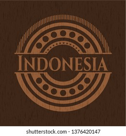 Indonesia badge with wood background